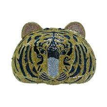 Hot Tiger Kupplung Geldbörse Kleinen Tier Kupplung Taschen für Frauen Hochzeit Prom Dinner-Party Luxus Kristall Tiger Abend Geldbörse