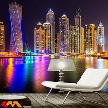 Dubai Night View City Building 3D Wall Mural