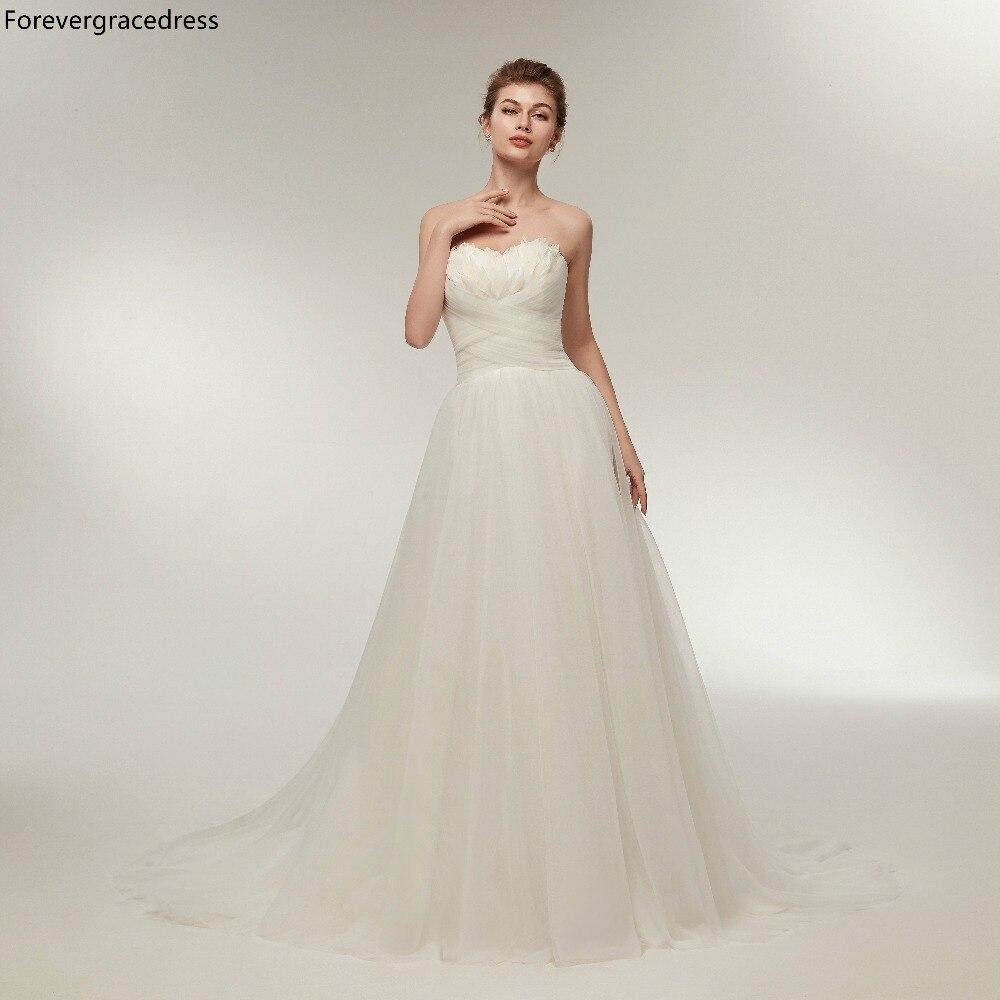 Forevergracedress Elegant Wedding Dresses 2019 A Line Long Tulle Backless Formal Bride Bridal Gowns Plus Size Custom Made