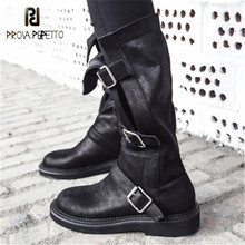 Prova Perfetto Punk Style Women High Boots Black Straps Flat Shoes Woman Platform Autumn Botas Mujer Buckles Design Martin Boots