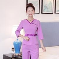 2018 New Lab Workwear Uniform Short sleeve Jacket+Pants Uniform Women Medical Aviation Uniform Beauty Salon SPA Fashion Clothing