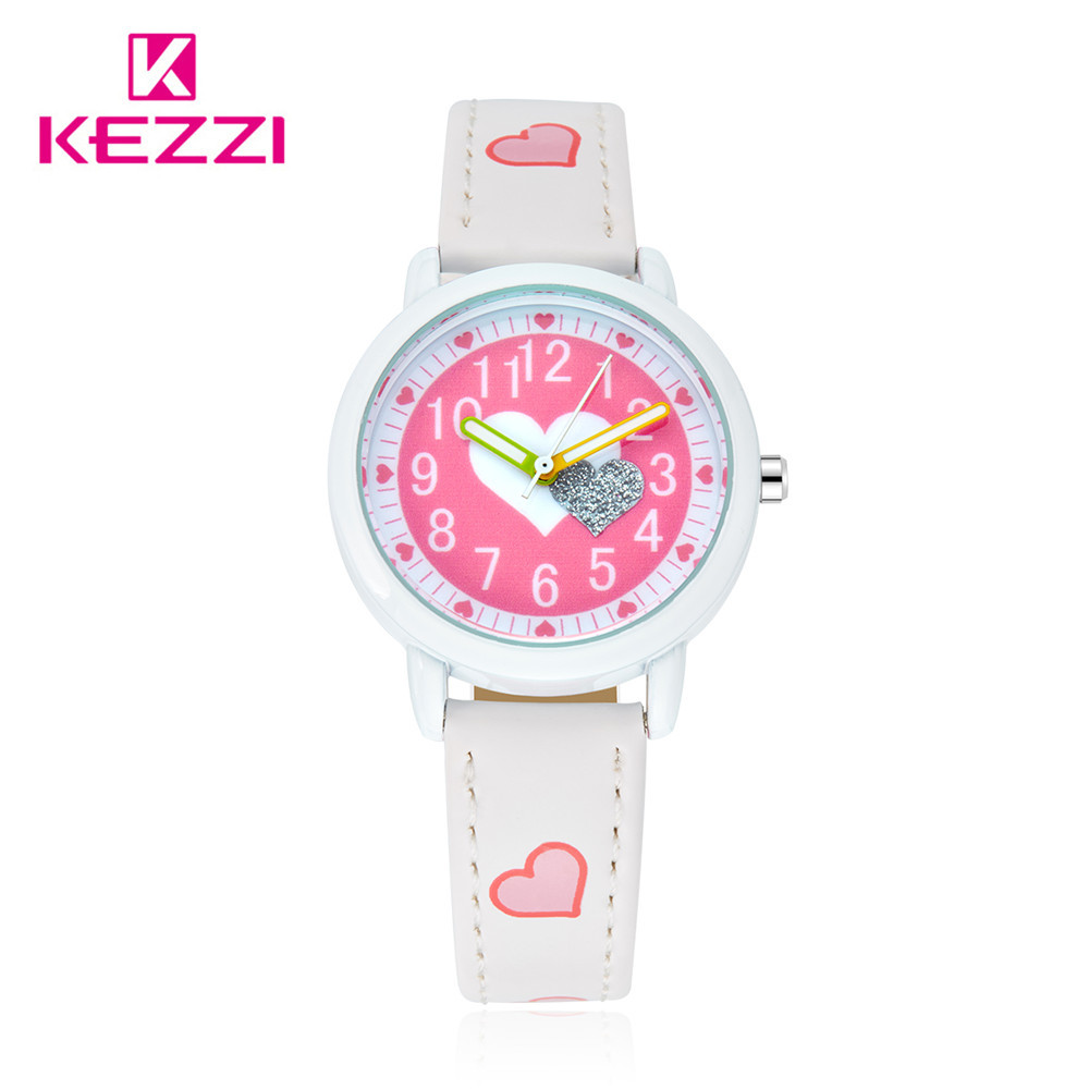 Kezzi brand cut sweet heart kids watch high quality quartz wristwatch leather band girls watch for Watches brands for girl