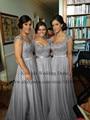 2015 Grey Red Royal Blue Pink Purple Long Bridesmaid Dresses Lace Cap Sleeves Chiffon Bridesmaid Dress For Weddings TB349