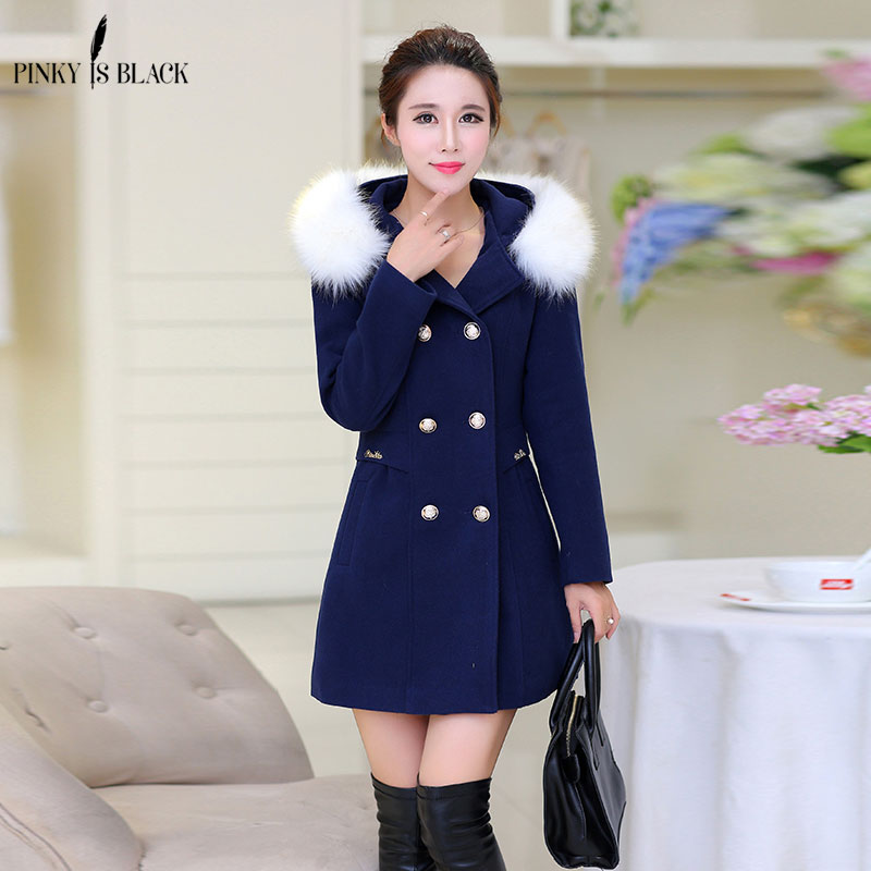 Pinky Is Black 2018 Winter coat women Woolen outerwear female slim medium-long double breasted fur collar wool coat Casaco Femin