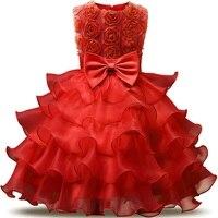 Lace Flower Girls Wedding Dress Baby Girls Christening Cake Vestidos For Party Occasion Kids 0 2