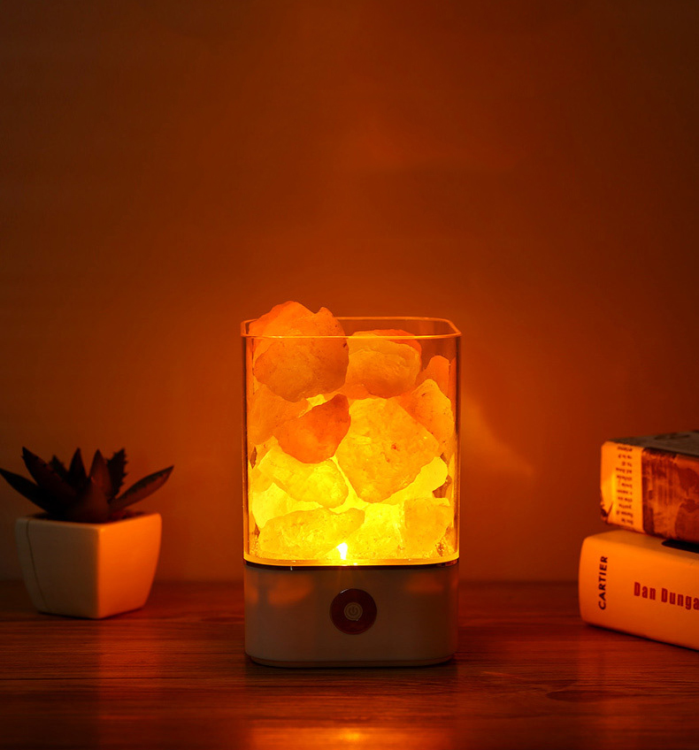 bedroom lava lamp USB Crystal Light natural himalayan salt lamp led Lamp Air Purifier Mood Creator Indoor warm light table lamp