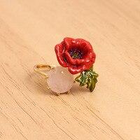 França Les Nereides Esmalte Esmalte Cobre Romantic Rose Flores Mulheres Anel Ajustável
