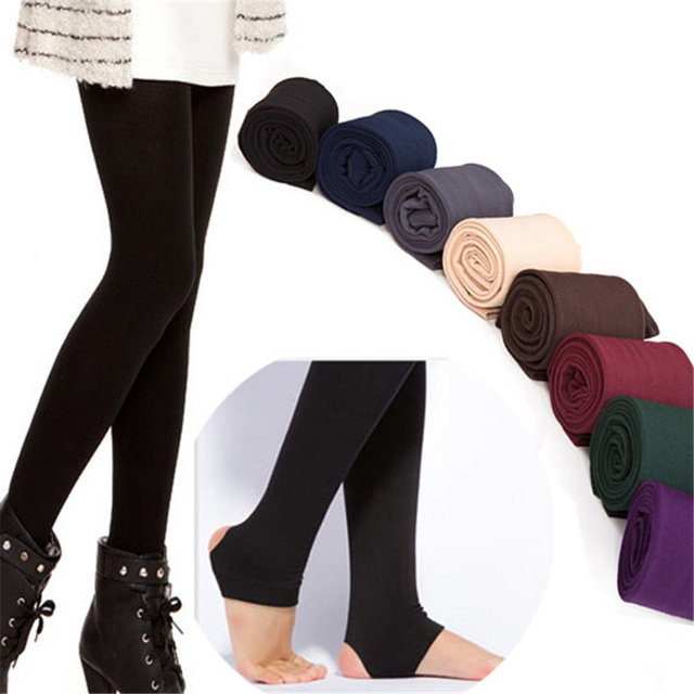 dbbd4f234b0fe Autumn Winter Women Thick Warm Legging Brushed Lining Stretch Fleece Pants  Women Trample Feet Leggings