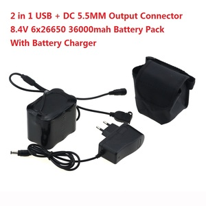 USB + DC порт, велосипедный светильник, 36000 мА/ч, аккумулятор 26650, 8,4 В, 6x26650, аккумулятор для SolarStorm X2 X3 T6, лампы + зарядное устройство