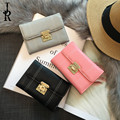 Women Short Wallets PU Leather Female Purses Card Holder Wallet Fashion Woman Small metal lock Wallet With Coin Purse girls gift