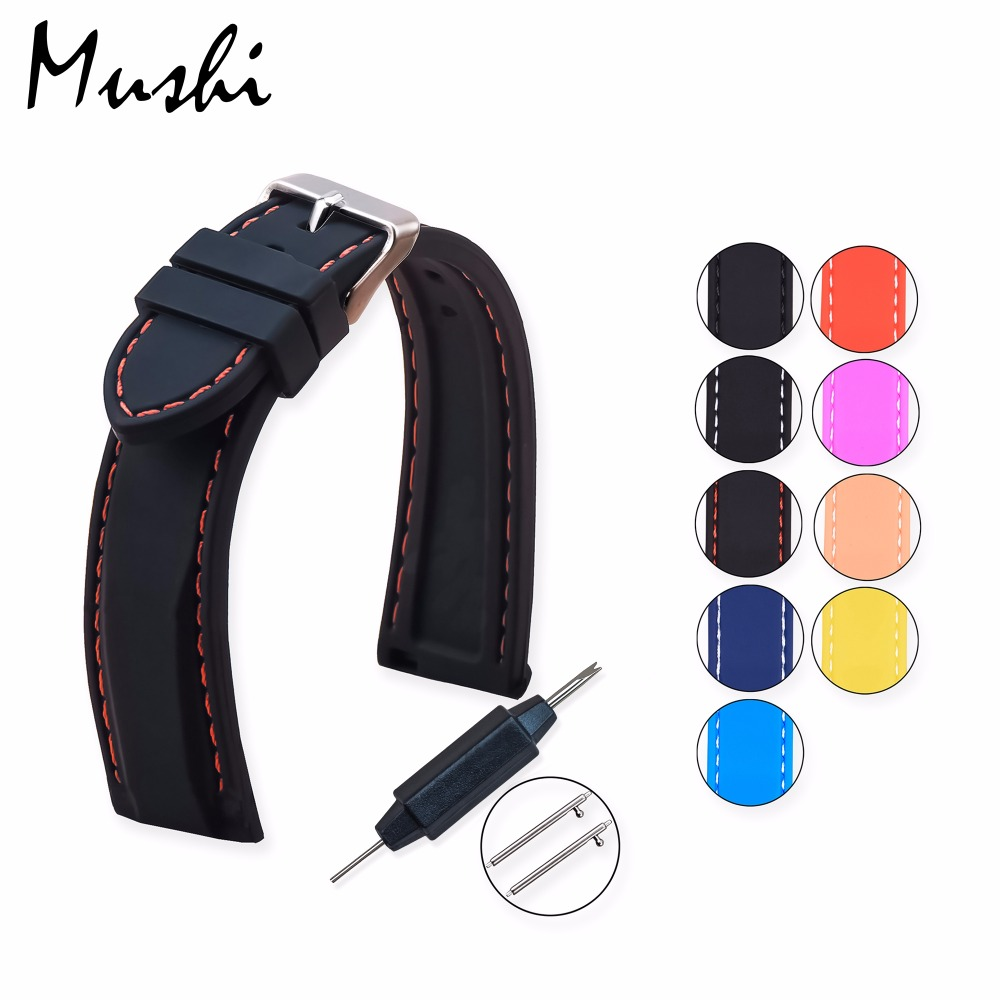 MS Silicone Watchband Diver Watch Band Rubber Watch Strap with Brushed Stainless Steel Buckle Clasp 20mm 22mm 24mm Watch Strap 24mm silicone rubber watch band for sony smartwatch 2 sw2 replacement watchband strap bracelet with stainless steel clasp buckle