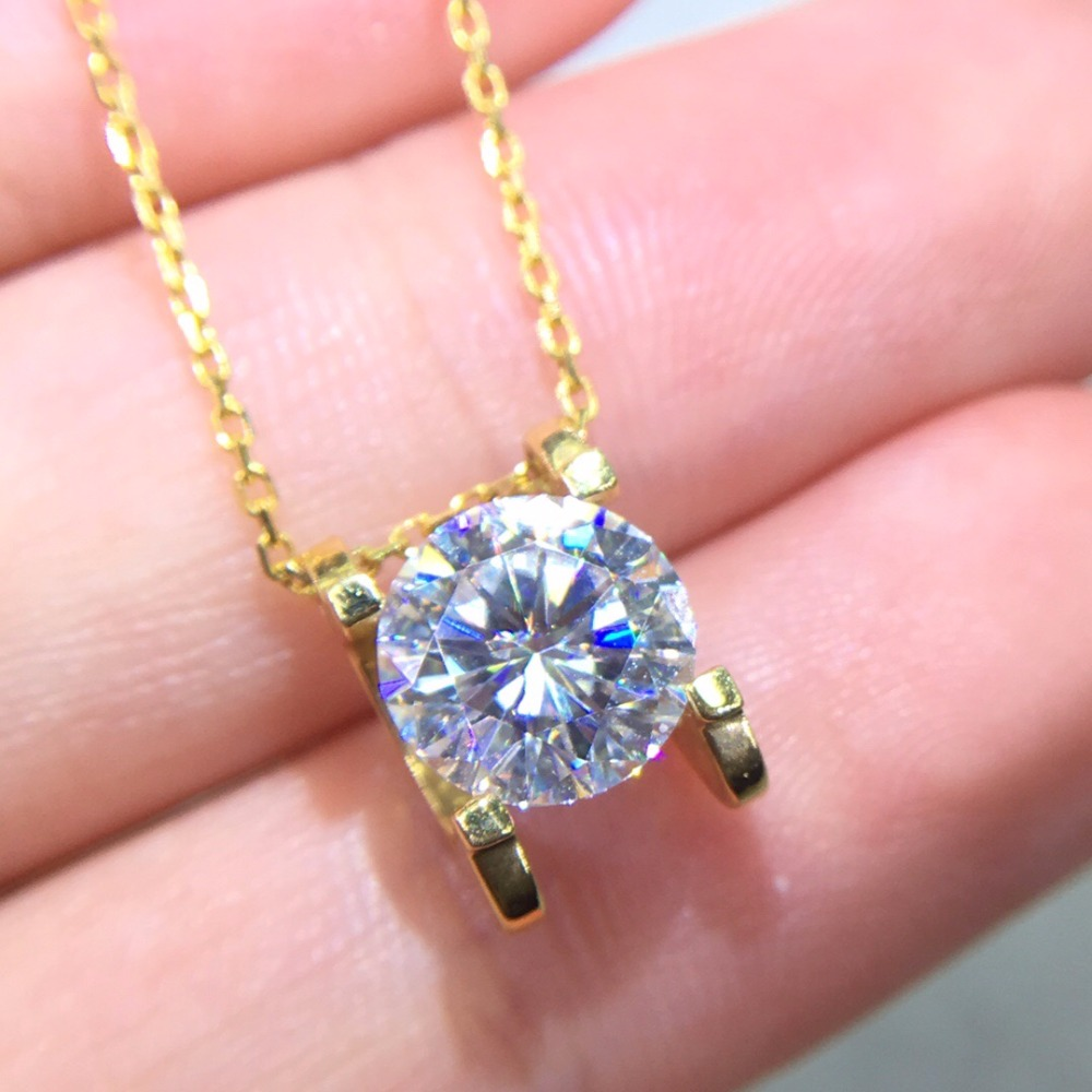 On Sale Fine Jewelry Real 18K Gold AU750 G18K 1.5ct Moissanite Diamond Pendant Gemstone Necklaces for Women
