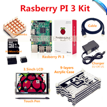Best Buy Raspberry Pi 3 Model B Motherboard+3.5inch LCD Display +5V2.5A Power Supply+ 8G Micro SD Card+9-layers Acrylic Case+ HDMI Cable
