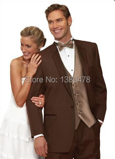 2016 One On Chocolate Groom Tuxedos Notch Lapel Best Man Groomsmen Men Wedding Suits Bridegroom