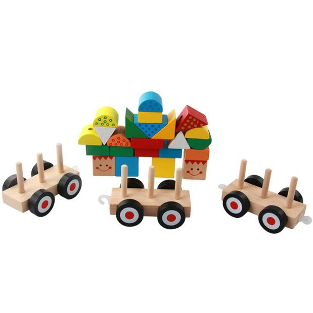 MamimamiHome Baby Wooden Waldorf Toys Geometric Building Blocks Three Small Trains Children Dragging Toys Building Blocks large pieces of baby blocks educational toys wooden toys of environmental protection children s building blocks toys