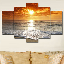 5 Panels Waterproof Canvas Painting Sunrise Beach Seascape HD Print Home Wall Hanging Art Oil Prints Pictures Modular Poster