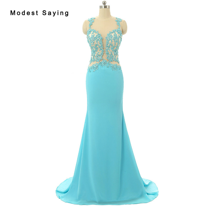 Elegant Backless Blue Mermaid Illusion Beaded Lace Evening Dresses 2017 Nude Lining Formal Women Party Prom Gown Robe De Soiree