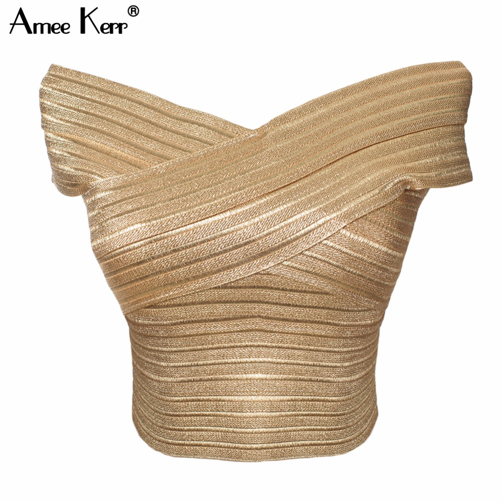 Amee Kerr Gold Bandage Slash Neck Sleeveless Crop Top Women's Vest Bralet Celeb Top Camis