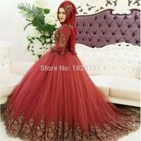 Burgundy Muslim Full Sleeve Lace Wedding Dress Tulle Ball Gown With Golden Lace Robe De MariEe Vestidos De Novia Saudi Arabia