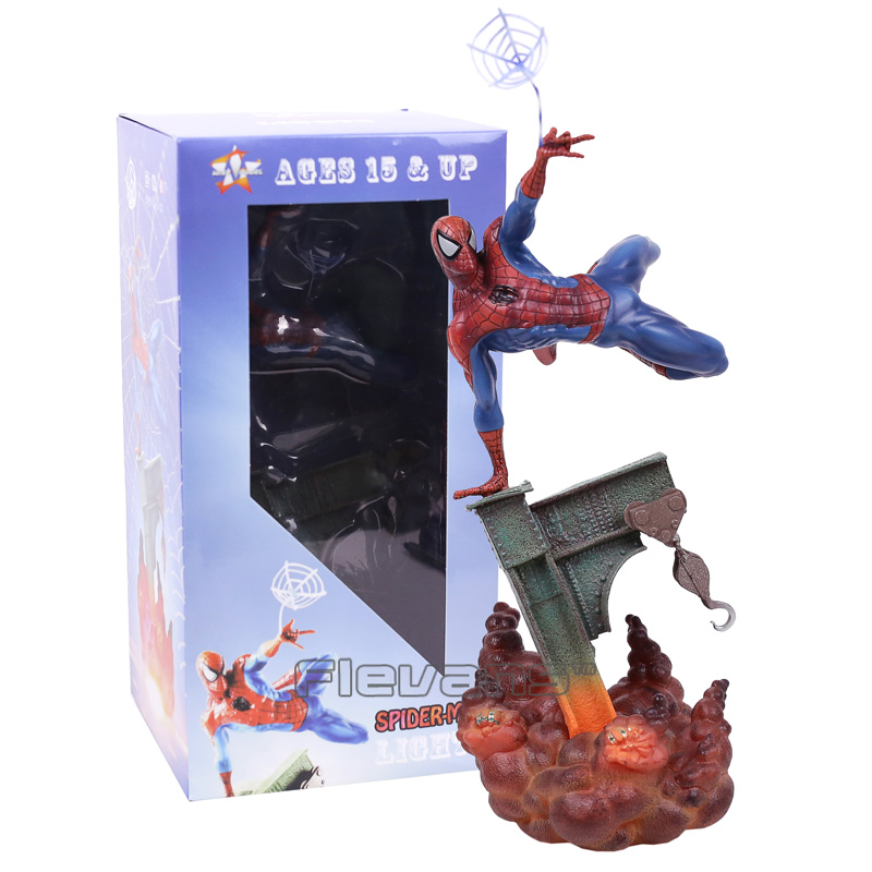 Spiderman Toys The Amazing Spider Man with Light PVC Figure Collectible Model Toy 30cm acne studios топ milne fluid