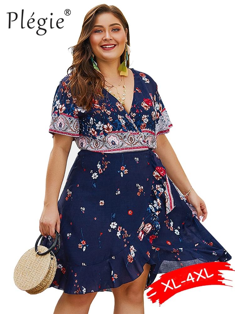 Женское винтажное платье в стиле бохо Plegie, белое праздничное платье большого размера с цветочным принтом, XL-4XL, лето 2019