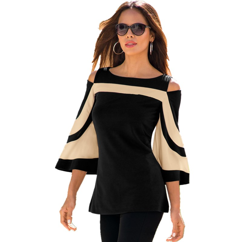 Women Blusas Top 2018 Spring Autumn Sexy Long Flare Sleeve Shirts Off Shoulder Pullover Casual Slim
