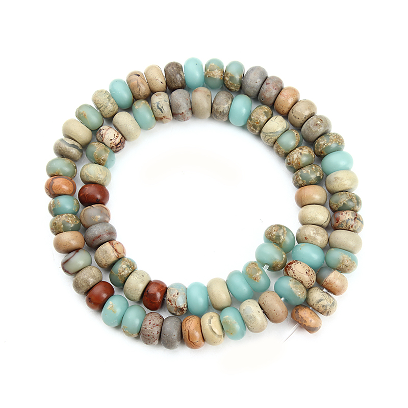 XINYAO 4 6 8 mm Oblate Natural Stone Beads For Jewelry Making Loose Spacer Beads Fitting Diy Necklace Bracelet Findings F3679