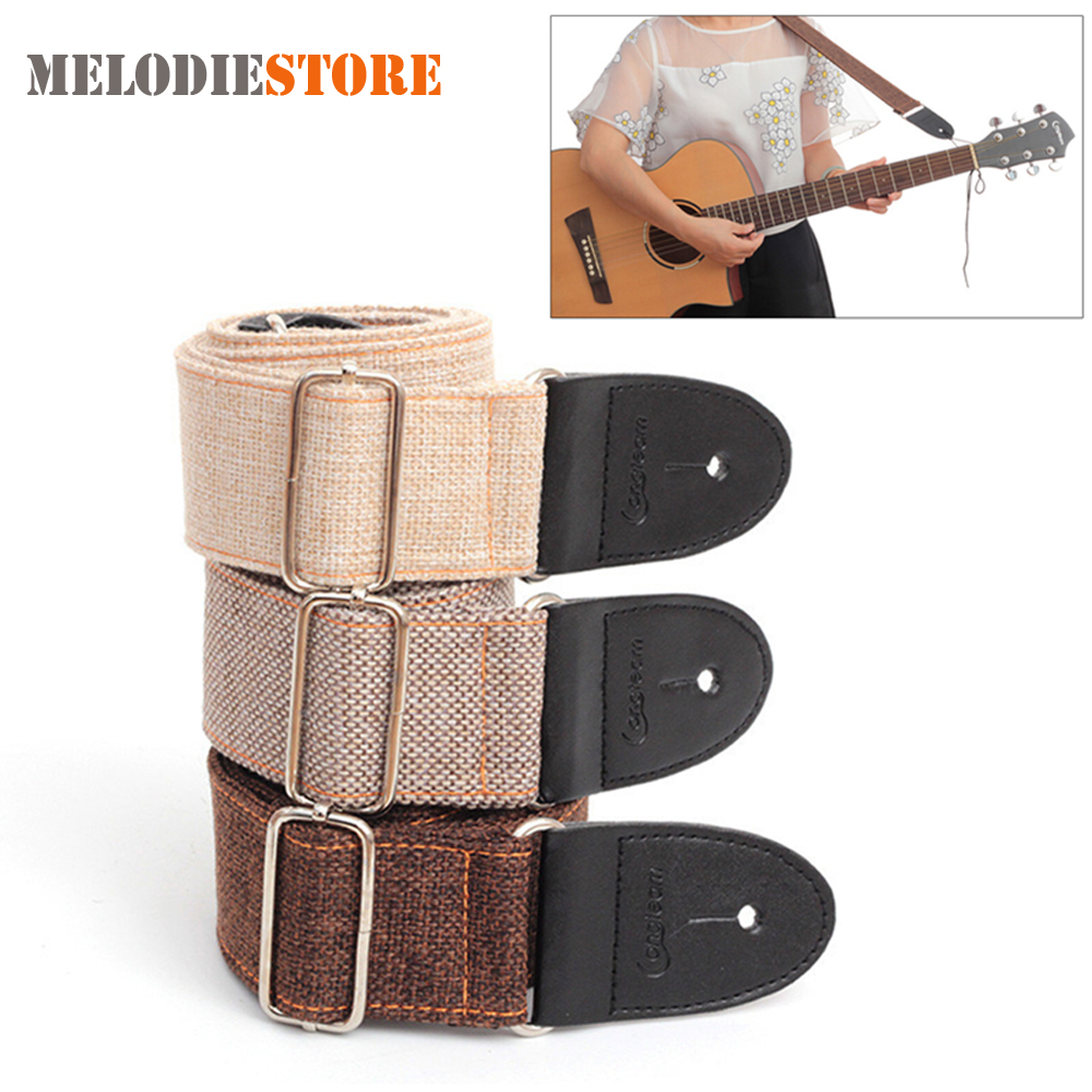 Adjustable Bass Guitar Strap Belt Cotton and Linen 80 - 140cm Acoustic Folk Electric Guitar Bass Strap with PU Leather Head