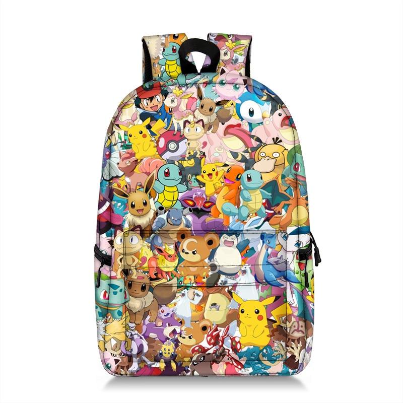 Pokemon Pikachu / Mario Smash Bros School Bags For Teeenager Boys Girls School Backpack Student Daypack Book Bag Women Bagpack
