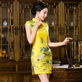 TIC-TEC chinese traditional dress women cheongsam short qipao vintage print elegant oriental dresses wedding party clothes P2851