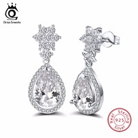 ORSA JEWELS 925 Sterling Silver Earrings Fashion Jewelry Zircon Dangle Earrings For Women Classic Engagement Jewelry