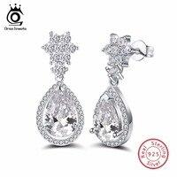 ORSA JEWELS 925 Sterling Silver Earrings Fashion Jewelry Zircon Dangle Earrings For Women Classic Engagement Jewelry