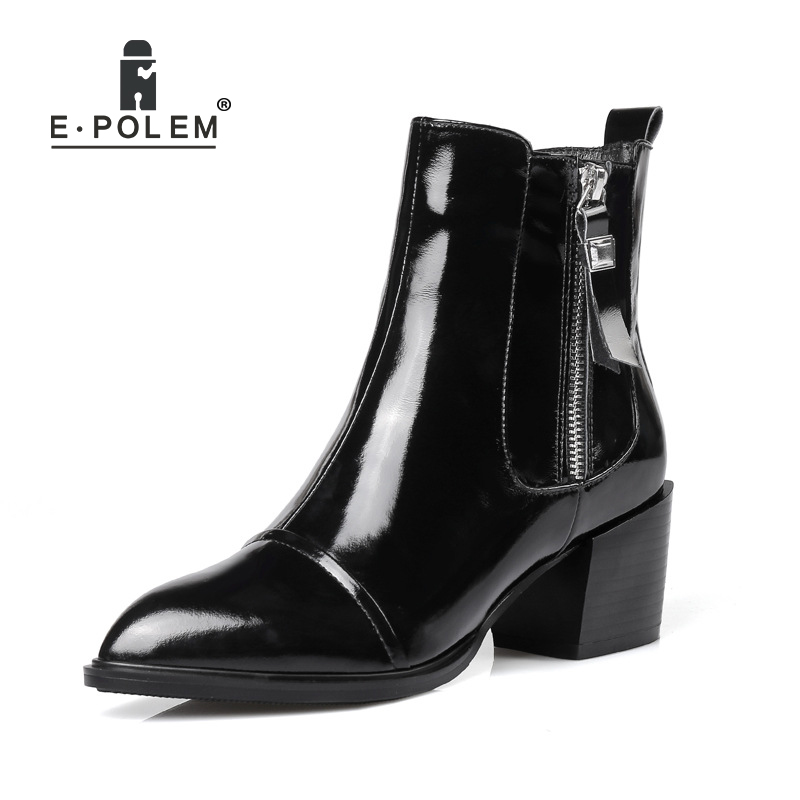 Fashion Female Genuine Leather Martin Boots Punk Ankle Boots Women High Thick Heel Zipper Boots Teenage Girl's Pointed Toe Boots ankle strap martin boots pointed ends genuine leather boots thin heel women ankle boots fashion punk style winter boots