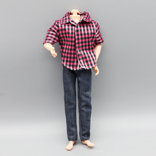 1set red Handmade Casual Clothes Pants Outfits For Ken boy friends Doll Clothes Children gift eg038