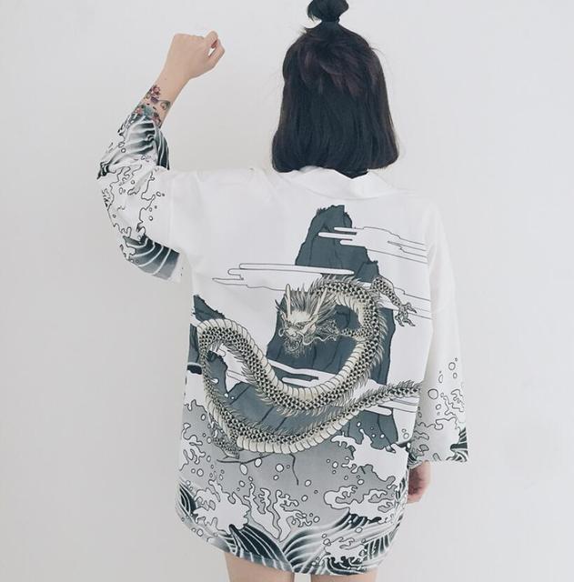 Japanese style waves and wind dragon kimono print chiffon cardigan summer sun shirt