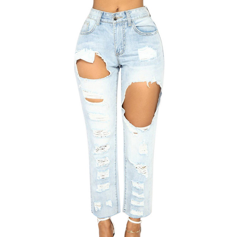 MoneRffi Boyfriend Hole Ripped Women Jeans 2018 Sexy Bleached Vintage Denim Mom Jeans Stretch Skinny Trousers Size Plus 3XL