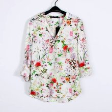 2016 Spring and Summer New Style Women Fashion Floral Print Roll-up Sleeve Shirt, Female Brand Elegant Casual Chiffon Blouse Top