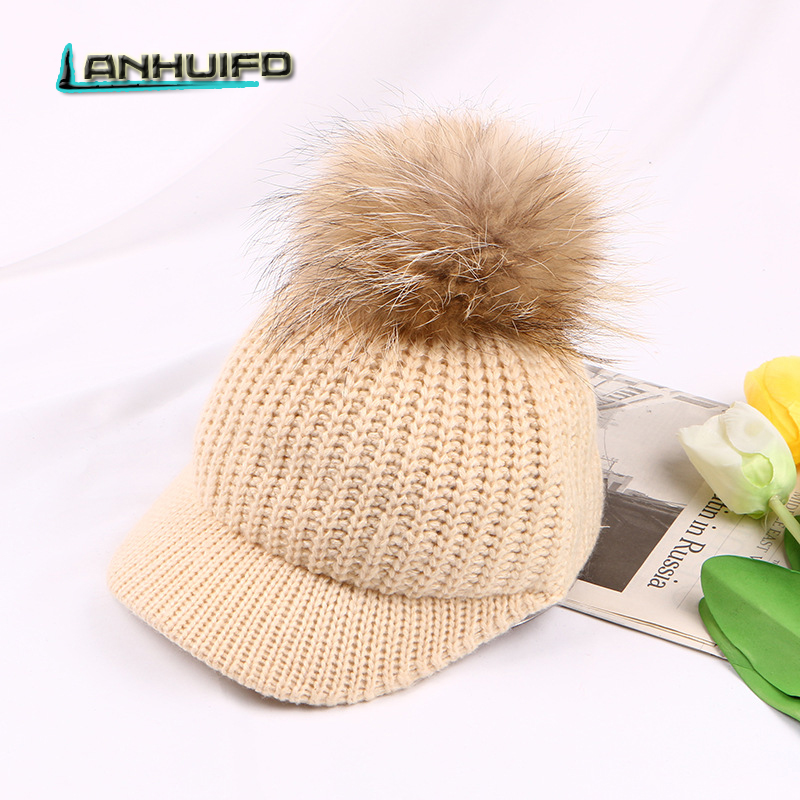 LANHUIFD The New Korean Version Hat Woman Autumn And Winter Knitted Hat Hairball Wool Cap Fox Tail Baseball Cap Keep Warm russian fashion ms mink knitted cap with fox fur pompom ball womens autumn winter warm wear hat straw hat keep warm hat h 03