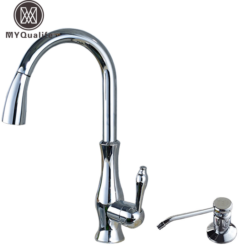 все цены на Bright Chrome Pull Out Kitchen Faucet Deck Mounted Single Handle with Hot and Cold Mixer Taps Stainless Steel Soap Dispenser