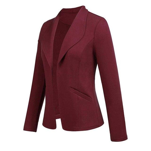 Feitong Women Blazer Jacket Fashion 2018 Women Long Sleeve Solid Cardigan None Button Elegant Work Office Slim Coat Lady Suit/PT 5