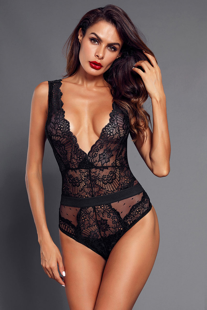 Black-Scalloped-Deep-V-Neck-Lace-Bodysuit-LC32226-2-6