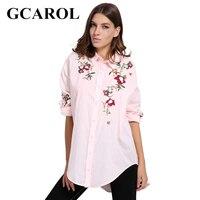 GCAROL Yeni Varış Kadın Nakış Çiçek Uzun Bluz Asimetrik Boy Çiçek Sonbahar Kış Pembe Bayanlar OL Gömlek Için Tops