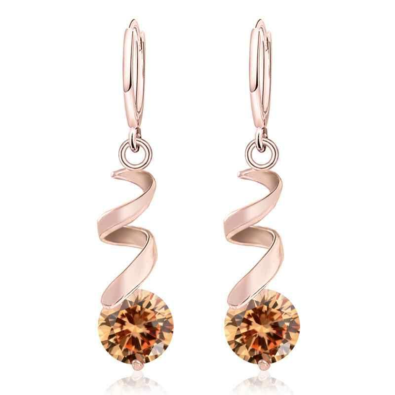 MISANANRYNE Nice Shipping Women's 4 Colors CZ Fashion Gold Color Dangle Drop Earrings Jewelry Gift