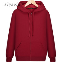 Rlyaeiz 2018 Autumn Winter Hoodie Men Jackets And Coats Mens Brand New Pure Color Hooded Zipper