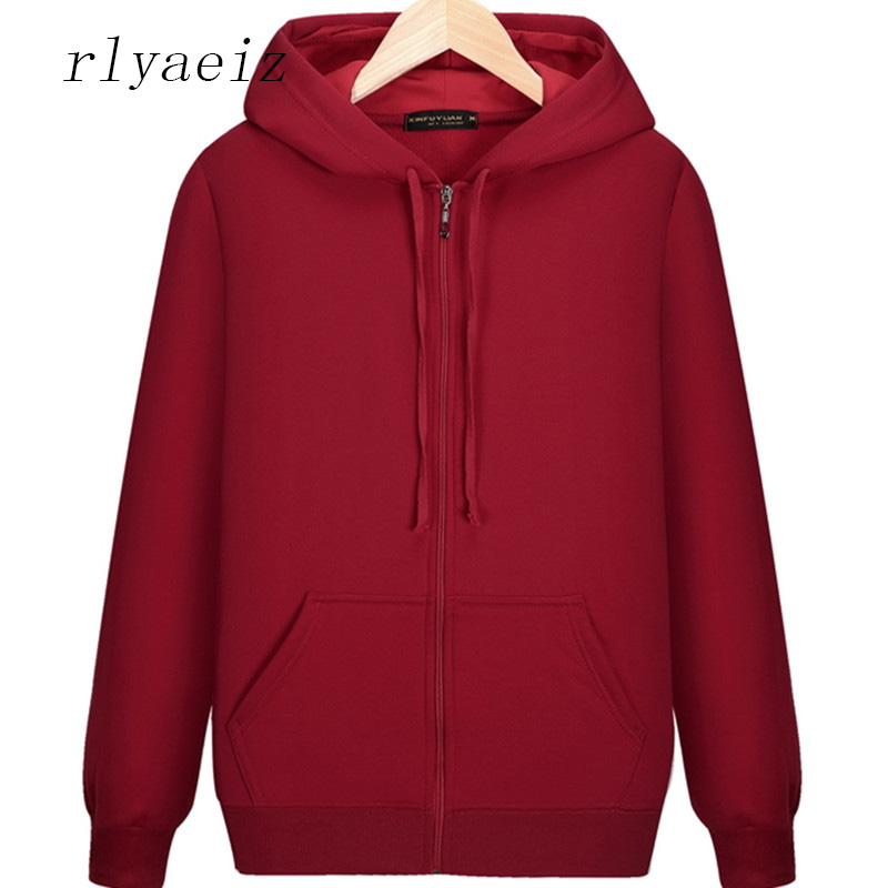 Rlyaeiz 2018 Autumn Winter Hoodie Men Jackets And Coats Mens Brand New Pure Color Hooded Zipper Hoodies Sweatshirts Loose Hoody