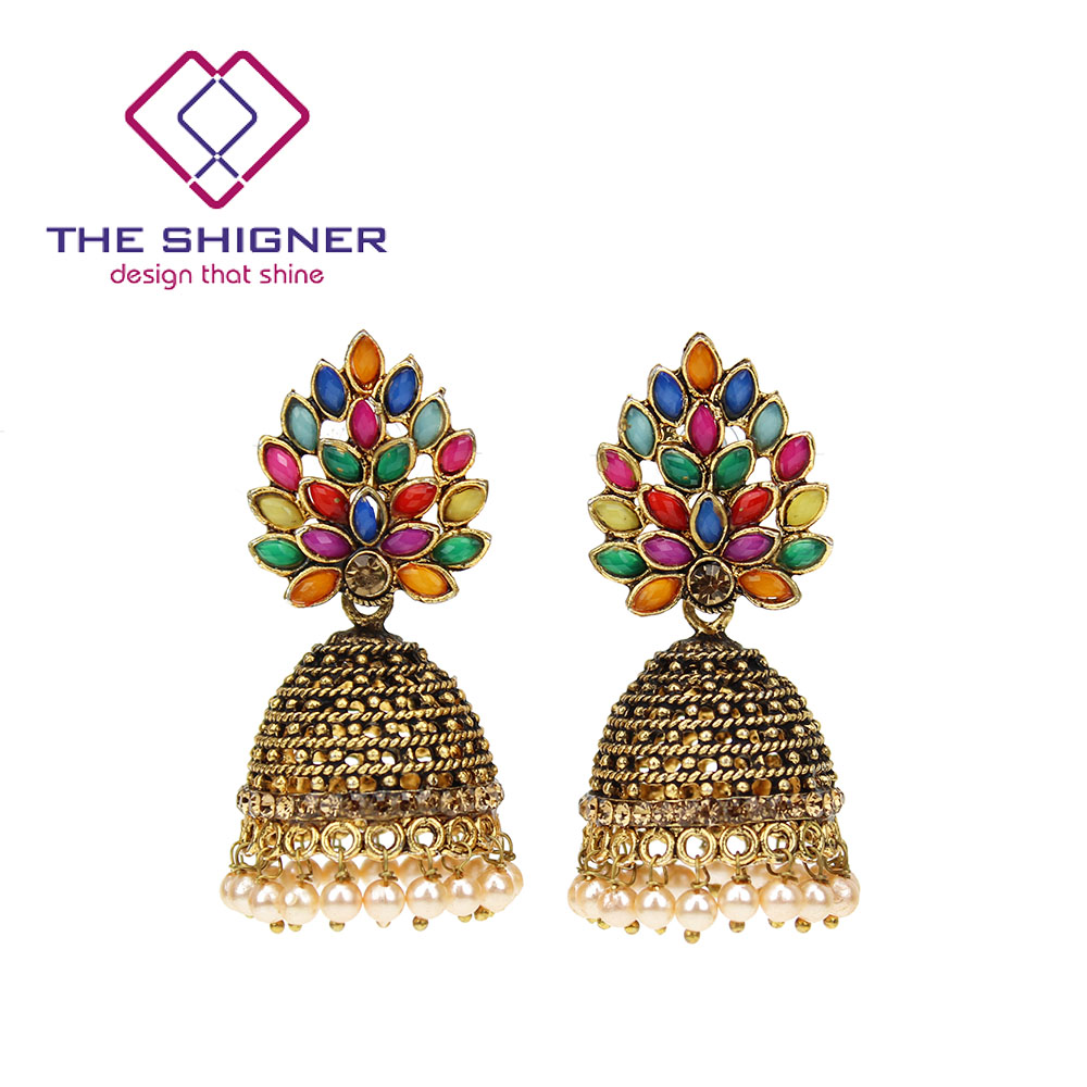 THE SHIGNER Indian Tradition Jewelry Bombay Fashion Stylish Fancy Party Wear  Colorful Stone Pearl Jhumki Jhumka Dangle Earrings 94a286780ff3