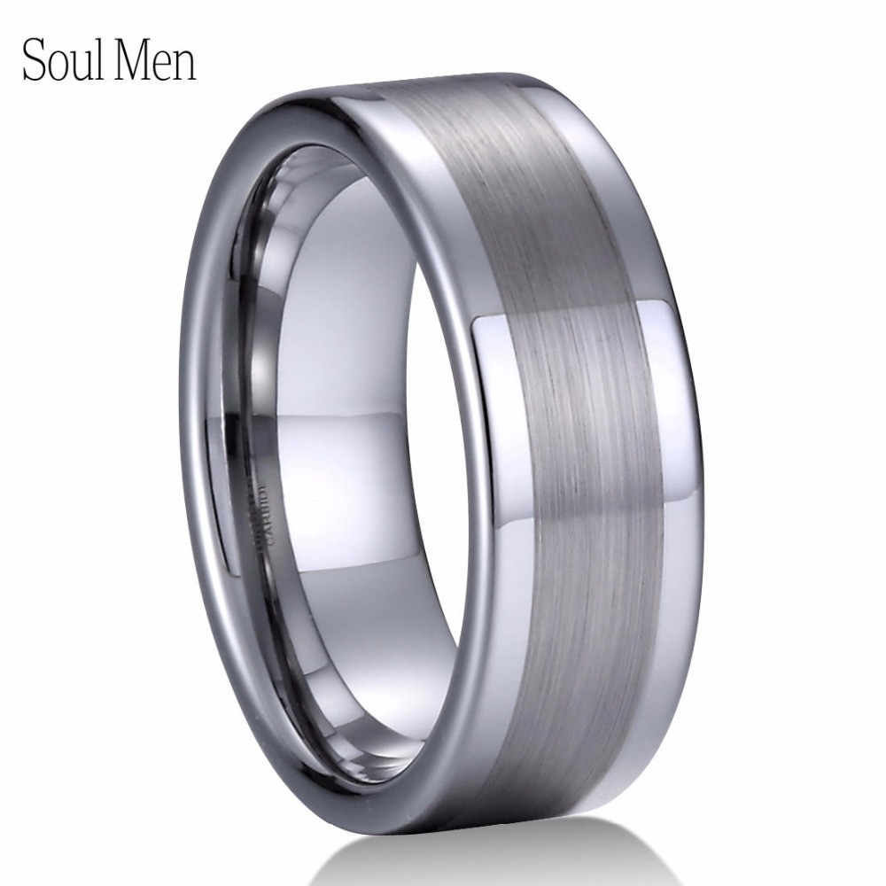 Tungsten Carbide Mens Ring Polished Edges Satin Center