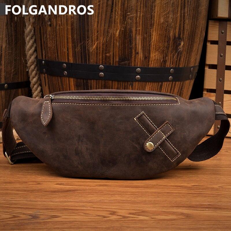 2019 Top qualité en cuir véritable taille sacs hommes Vintage mode taille Pack unisexe Fanny Pack argent téléphone bandoulière sac à bandoulière