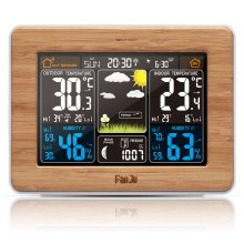 FanJu FJ3365 Weather Station Barometer Thermometer Hygrometer Wireless Sensor LCD Display Weather Forecast Digital Alarm Clock fj3365 weather station color forecast with alert temperature humidity barometer alarm moon phase digital barometer