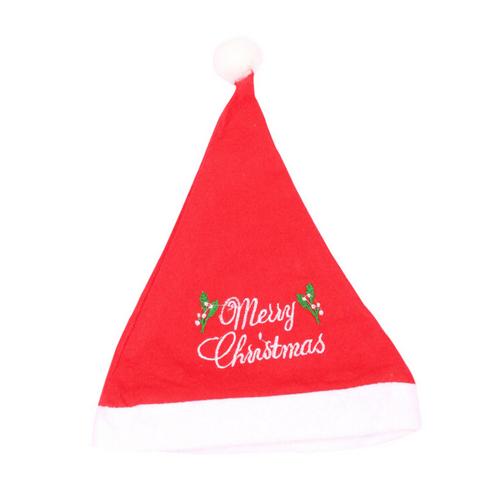 1pc Nonwoven Unisex Adults Red White Christmas Xmas Caps Fashion Merry Christmas Print Santa Claus Caps Gifts Holiday Costumes
